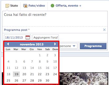 calendario programmazione facebook