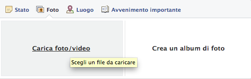 carica foto o video facebook